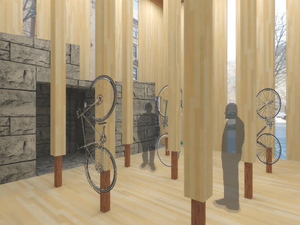 interior rendering of how the bikes are stored and the peoples' relation to the built elements