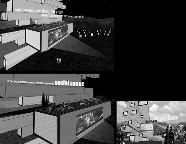 Spatial collages highlighting the main concepts of the design