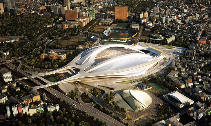 Renders for Hadid's new stadium in Tokyo, which was the object of a veritable storm of criticism. Credit: Japan Sport Council via Bustler