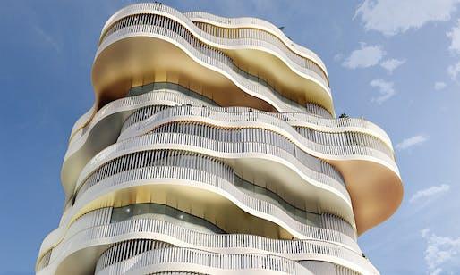 Les Jardin de la Lironde residential tower by Farshid Moussavi Architecture