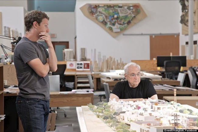 Gehry working on the Facebook HQ design with Mark Zuckerberg