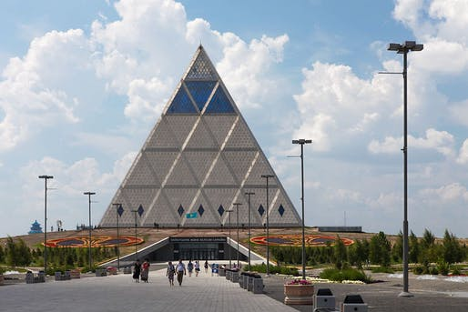 The Norman Foster-designed Palace of Peace and Reconciliation pyramid in Astana. Image via Wikipedia.