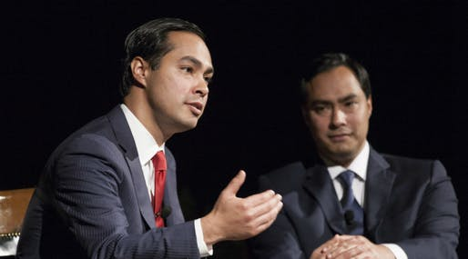 Presidential contender Julián Castro and his twin brother, Texas congressional representative Joaquin, Image courtesy Wikimedia user Lauren Gerson.