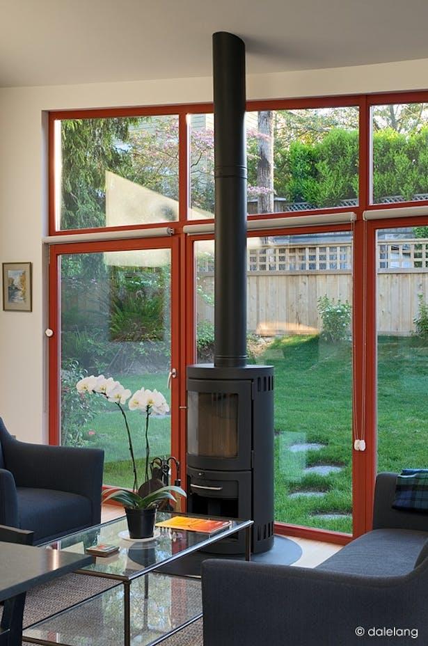 Rais Freestanding Fireplace in Living Room