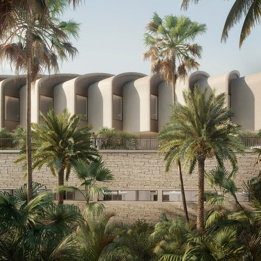 View of the Magdi Yacoub Global Heart Centre Cairo complex. All renderings courtesy of Foster + Partners.