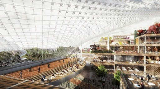 Render of the proposed Google campus plan in Mountain View, CA, by BIG and Heatherwick Studios. It's unclear whether the designs for the London HQ will follow a similar sensibility. Image credit: Google.