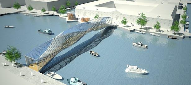 Global view of footbridge, cafè and facilites