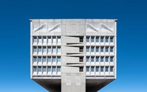 Marcel Breuer's Pirelli Tire Building in 2018. Image via Wikimedia Commons user Pat Krupa.