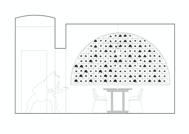 Cross section Lounge with the long linear lamp and niche with coals Formafatal