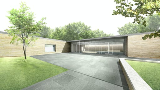 Rendering of The Frank Lloyd Wright Trust Visitor and Education Center, by John Ronan Architects.