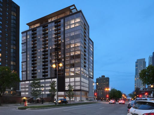 The proposed Ascent apartment tower in downtown Milwaukee aims to become North America's tallest timber building. Image: Korb + Associates Architects.