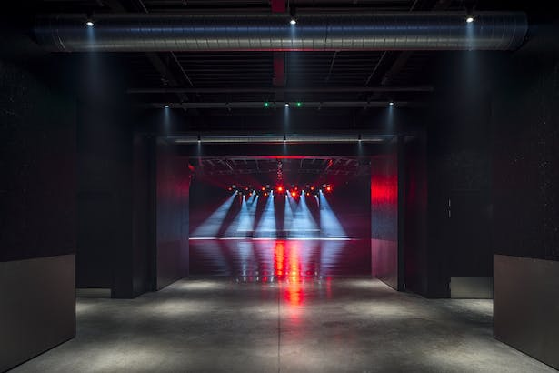 View from passageway to stage in Space2
