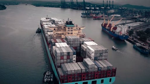 A super large container ship or a 'post-Panamax,' which requires the expansion of the Panama Canal. Credit: Radiant Features / the History Channel
