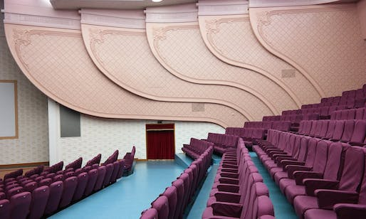 Interior of the recently rebuilt National Theatre in Pyongyang. Photo by: Oliver Wainwright, via The Guardian.