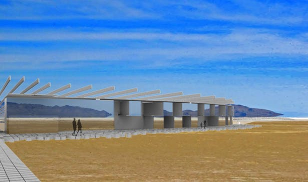 View of Half of the Rest Stop Facilities and Hotel Rooms from Salt Flats | VRay Render