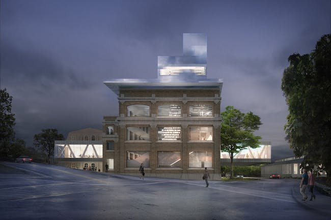 Exterior rendering of the Ho Fine Arts Library.