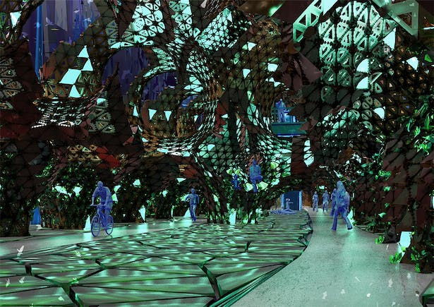 Interior perspective at nighttime to highlight material changes and the shift in atmospheric experiences inside the space.