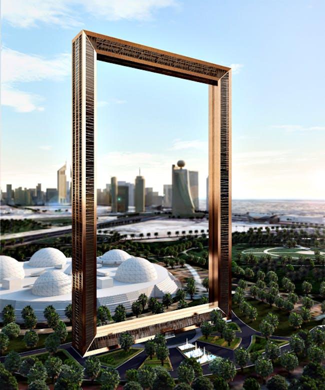 A rendering of the picture-perfect Dubai Frame (via thatdubaisite.com)