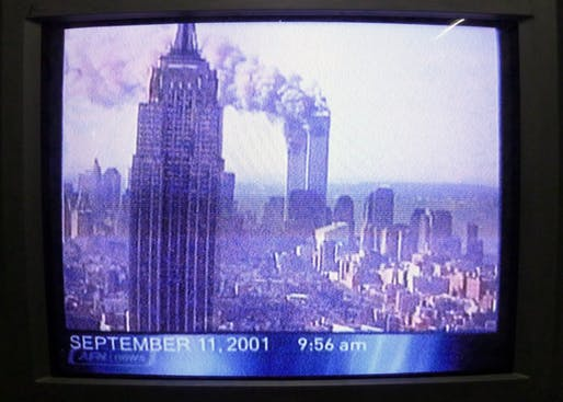9/11 coverage on television in 2001, photo by Robert Couse-Baker