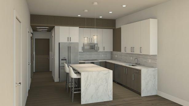 Washington Avenue Loft Kitchen Render
