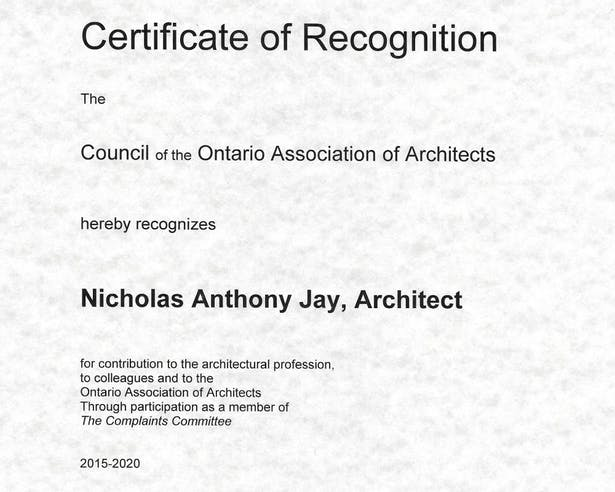 Certificate of Recognition from OAA to Nicholas Jay Architect