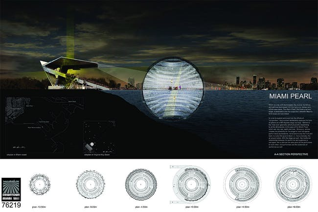 Winner of the 2011 Floating Stage competition: Team: Abingo Wu Studio, including Jiong Wu + Gengxin Ou from Lincoln, Nebraska, with its design concept 'MIAMI PEARL'