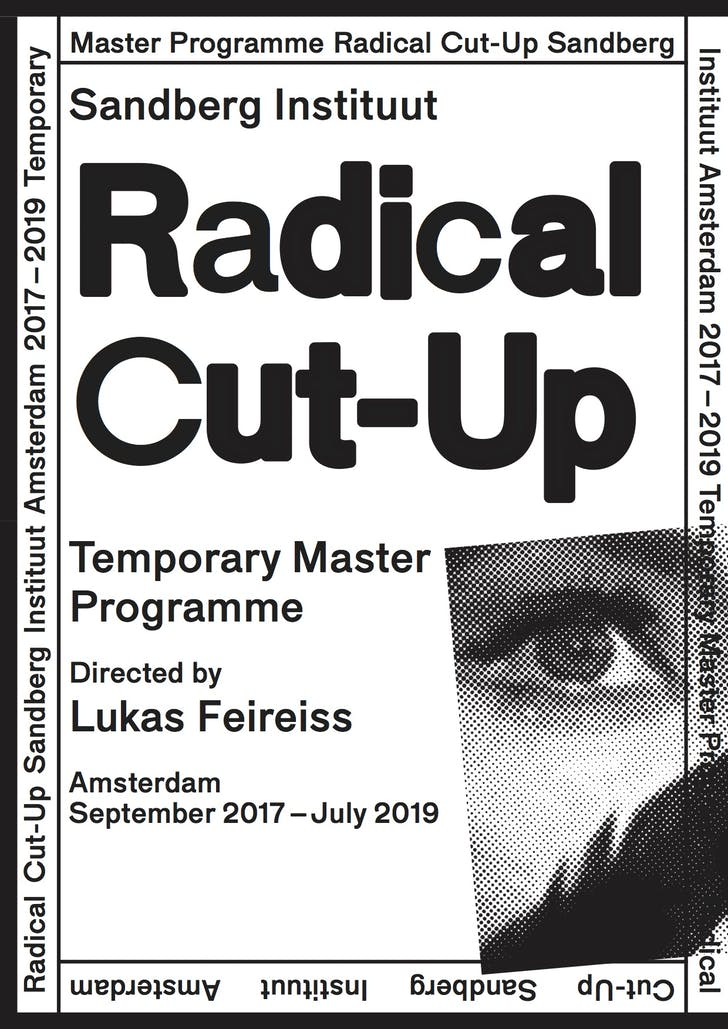 A poster for Feireiss' 'Radical Cut-Up' Masters Program at the Sandberg Instituut. Image courtesy Lukas Feireiss.