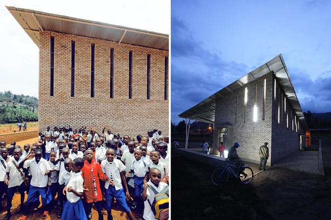 Night/ day view of the Kimisagara Football for Hope Center. Location: Kigali, Rwanda. Credit: Killian Doherty