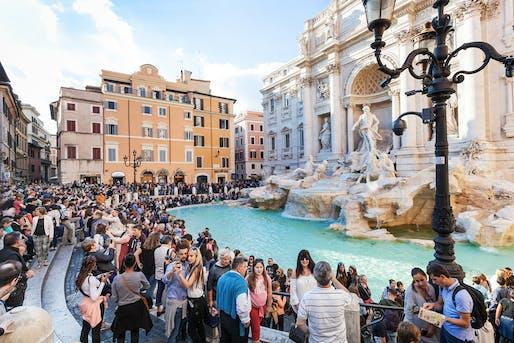 Crowds near the Trevi Fountain. Image courtesy of Italy Magazine