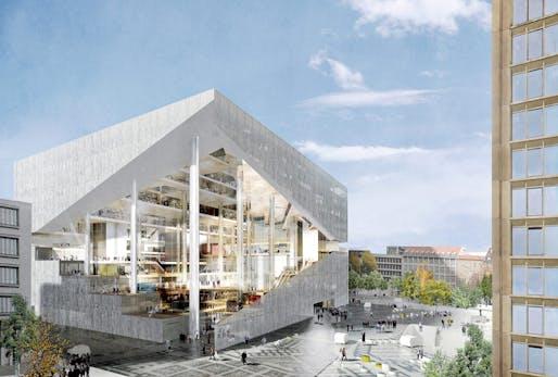 Rendering of the OMA-designed Axel Springer digital media center for Berlin. (Image: Axel Springer/OMA via bloomberg.com)