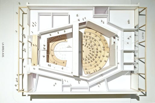 Aerial model view of the Judith and Thomas L. Beckmen YOLA Center @ Inglewood, rehearsal configuration. Photo courtesy of Gehry Partners, LLP.