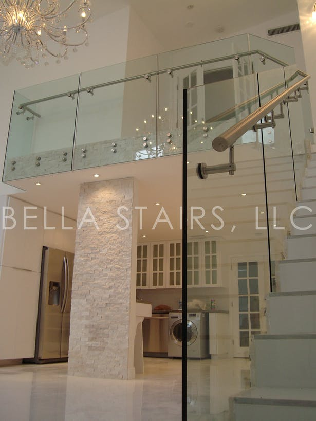 Glass Railings in Modern Townhouse | Bella Stairs, LLC