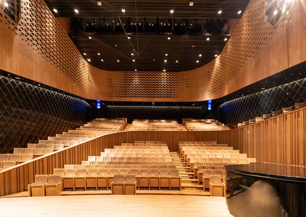 The 434-seat Recital Hall has the most intimate atmosphere of the four. With its asymmetrical composition and seating across two levels, it is designed for chamber music and recital performances. Image by Sytze Boonstra.