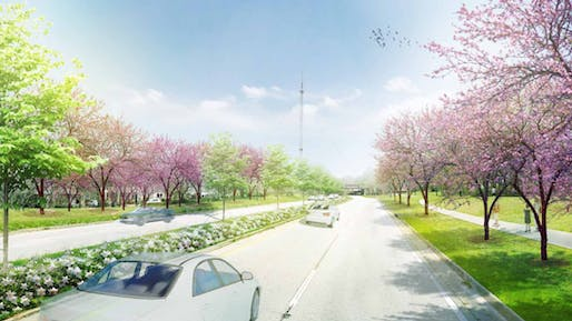 """Flowering Forest Tribute"" Procession along John Lewis Freedom Parkway. Rendering courtesy SWA Group."