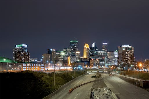 "Empty highways outside of Downtown Minneapolis on March 17, 2020. Photo: Chad Davis/<a href=""https://www.flickr.com/photos/146321178@N05/49674291772/"">Flickr</a>"