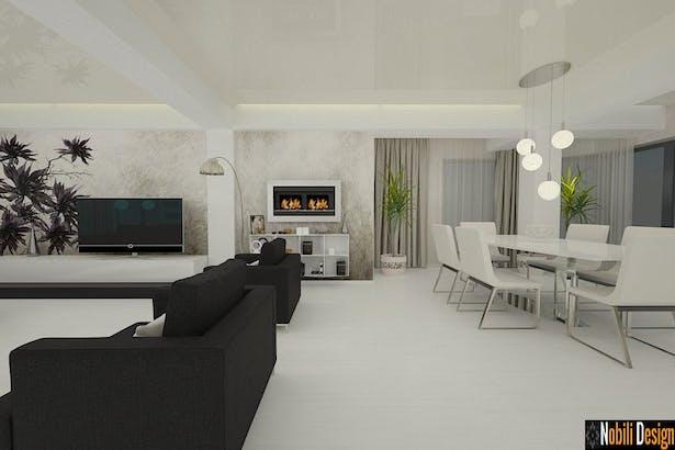 Amenajare living dormitor casa moderna cu etaj