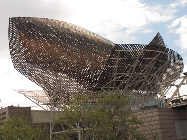 The fish-inspired pavilion for the 1996 Barcelona Olympics served as the catalyst for developing much of the technologies discussed in Chang's piece. Credit: Wikipedia