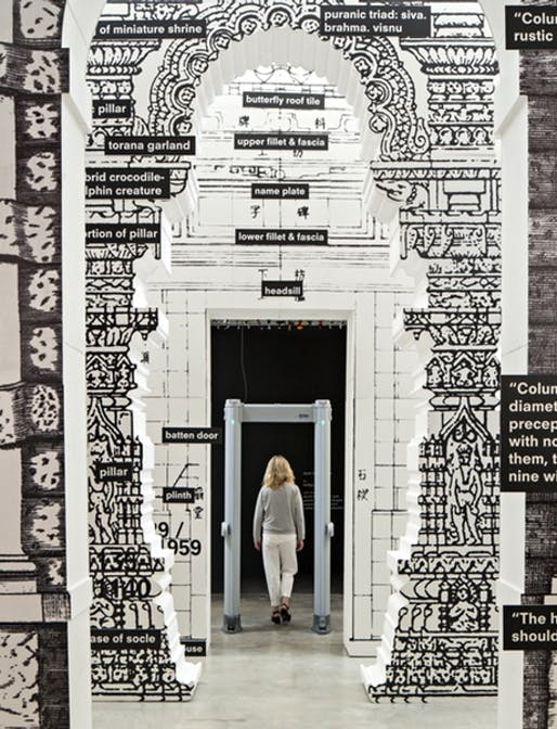 The 'door' room from Koolhaas's Fundamentals show has life-size replicas of various historical doors from China, India, Italy and USA, plus an airport security scanner. Photograph: David Levene for the Guardian