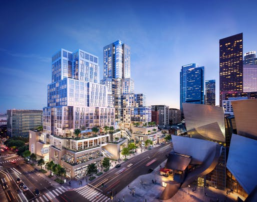 Rendering of the Gehry Partners-designed The Grand mixed-use development in Downtown Los Angeles. Rendering courtesy of Red Leaf / Related-CORE.