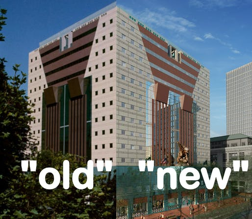 A side-by-side comparison of the old and new Portland Building facades.