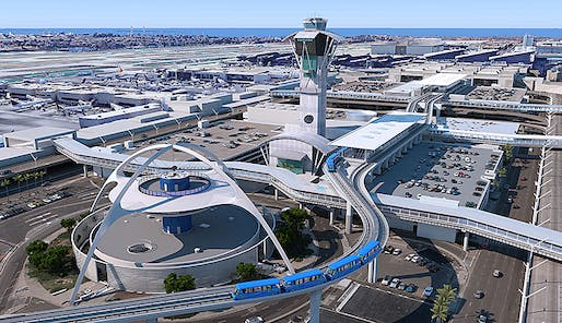 An aerial view of the Automated People Mover at LAX. Rendering: LAWA