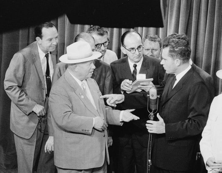 Soviet Premier Nikita Khrushchev and United States Vice President Richard Nixon debate the merits of communism versus capitalism in a model American kitchen at the American National Exhibition in Moscow (July 1959). Photo by Thomas J. O'Halloran, Library of Congress collection, via wikipedia.com