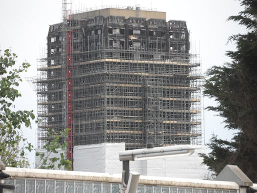 View of the Grenfell tower in the aftermath of the building's tragic fire. Image courtesy of Wikimedia user Carcharoth.
