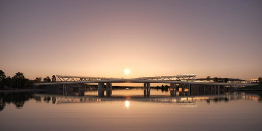 Interlocking bridge design in Washington, D.C. by OMA and OLIN. Image: Luxigon / OMA.