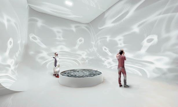 Resilience; A meditative room that displays the impact music brings to the world, displayed through water cymatics reflected onto walls.