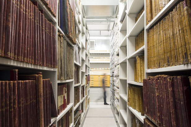 Document storage within the climate-controlled collection room