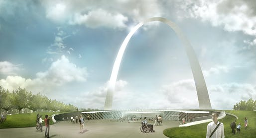 Entry of the new St. Louis Gateway Arch Museum by Michael Van Valkenburgh Associates, Cooper Robertson, and James Carpenter Design Associates. Image courtesy of the architects.