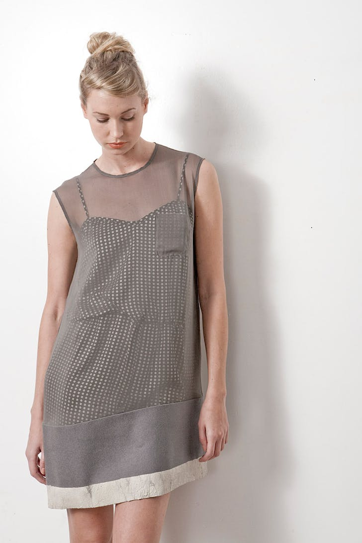 Fall/Winter 2011 Collection – silk shift dress with felted wool contrast dipped in concrete
