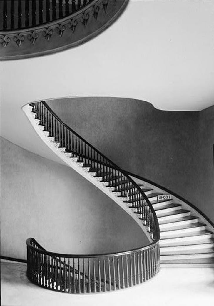 View of the spiral staircase designed by King at the Alabama capitol. Image courtesy of The Library of Congress.