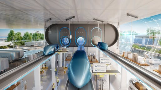 Concept rendering of Virgin Hyperloop's Cargospeed project. Image: Virgin Hyperloop.